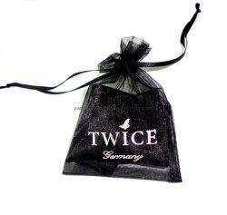 Qualidade de prémio puro preto jóias Organza Saco para roupa suja com película quente da bolsa o logotipo de Prata