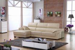 Moderne Schnittecke L u-Form-stützendes Chesterfield-Luxuxfreizeit-Ausgangsmöbel-Samt-Gewebe-reales echtes Leder-Sofa