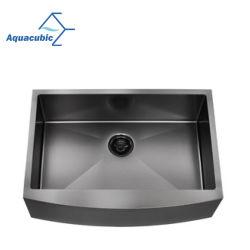 Dispersore di cucina Handmade della singola della ciotola del nero del Gunmetal di Aquacubic dell'acciaio inossidabile del grembiule Camera Nano dell'azienda agricola (ACS3021B1QB)