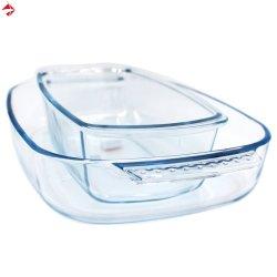 굽기 접시로 또는 팬 또는 격판덮개 또는 쟁반 놓이는 명확한 깊은 타원형 장방형 유리제 Bakeware