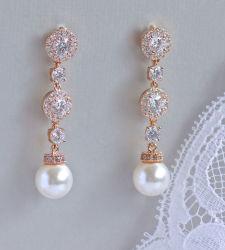 結婚式の真珠の宝石類、花嫁の真珠の宝石類、真珠のイヤリング、CZのイヤリング