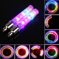 Lámpara de Flash 2 X 7 modos de neumático de rueda para Bicicleta habla Neon 5 LED de luz de la tapa de válvula