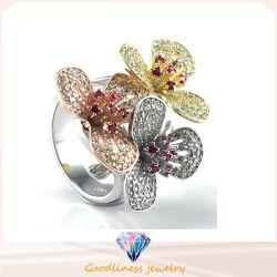 Bague Fleur pour dame élégante cadeau Mode bijoux Hot Sale Bijoux en argent bague (R10502)