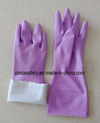 De Handschoenen van Labor&Work van het Latex van het huishouden met het Bespoten Bijeenkomen