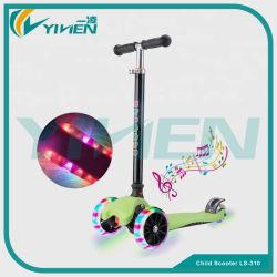 Los niños de la música de luz LED de plástico de los niños de 3 ruedas Scooter Scooter