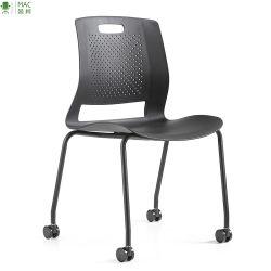 Asiento y respaldo plástico tarea sillas de ruedas con cuatro patas