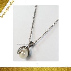 Популярные серебристые CZ ювелирные изделия 18K 14K 9 K черное золото цветной шейный ремешок с жемчугом для девочек