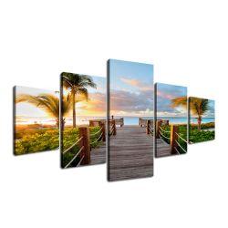 5 panneaux de palmiers au coucher du soleil mur Peinture Art Déco gravures de toile