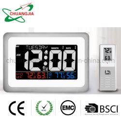 Пду аудиосистемы Wwvb Настенные часы с наружной температуры в помещении дистанционного датчика влажности