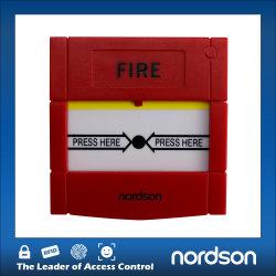 Apertura di emergenza della porta di emergenza antincendio in vetro verde giallo rosso bianco