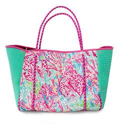 2020 Venta caliente Bolsa de neopreno perforado bolsa de playa Tote Handbag Bolsos para mujer moda señoras de la playa de neopreno y bolsa de malla