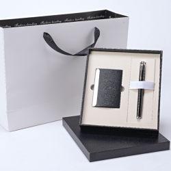 Lotes de regalo papelería de cuero con tarjeta de portátil caso Bolígrafo