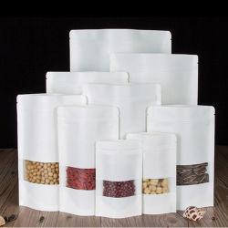 Livre blanc de gros sacs Ziplock Stand up Pcakging alimentaire Sac avec Windows