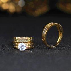 Тенденция дизайн 925 Silver Gold покрытие Большой ясно CZ трио установить кольцо