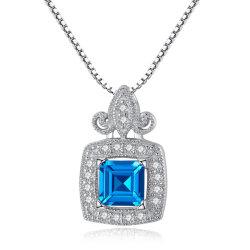 Os novos senhores Jóias de Diamante de topázio Natural azul 925 Pendente de prata esterlina Colares