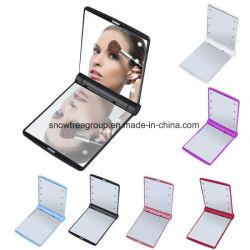 LED de 8 espelhos de viagens de maquiagem mini compacto dobrável portátil lado Cosmetic compõem o Pocket Mirror com 8 luz de LED para Mulheres