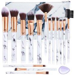 Jeu de pinceaux de maquillage Premium Fondation synthétique Poudre Mélange Concealers ombres à paupières face composent Brush définit 15 PCS en marbre avec sac cosmétique bouffée de silicone