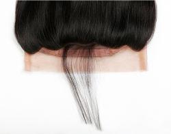 Vor gezupft 360 Spitze-Jungfrau-Haar-natürlichen Haarstrichspitze-Band-Stirnbeinen der Spitze-frontales Schliessen-brasilianisches Karosserien-Wellen-360 mit dem Baby-Haar