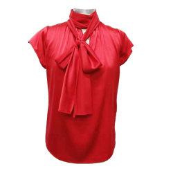 2020 Nova manga curta gola Cachecol Office confortável Casual blusa de seda para senhora