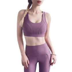 Commerce de gros vêtements athlétique Logo personnalisé Sports Bra Womens élastique des vêtements de sports yoga Haut de page