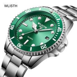 Os homens Wliisth Vigilância do aço inoxidável água negócios Gem Relógios de quartzo por grosso