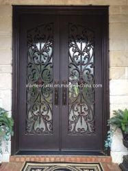 Декоративная вход из кованого железа с высоким уровнем безопасности стекла задней двери