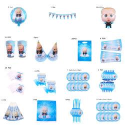 Jefe de bebé tema Fiesta de cumpleaños decoración niños vajilla parte de la placa de la Copa servilletas Cupcake suministros de Baby Shower globos Banner