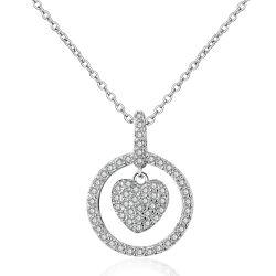 Formato de coração de moda jóias pingente de prata de Cristal