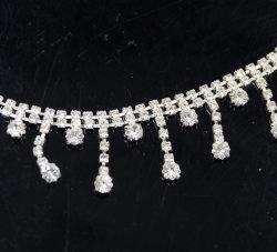 熱い販売法のよじ登る銀製の明確なラインストーンのフリンジのふさの鎖のトリム