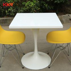 Искусственным мрамором белого камня твердой поверхности Corian ресторан стол со стульями