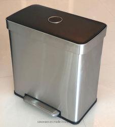 30L + diafragma de 30 L Lixeira cozinha inoxidável bandeja metálica Bin Bin Trash Can caixote do lixo de pedal