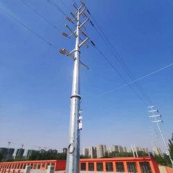 Высокое напряжение питания оцинкованной линии передачи одной трубы стальные башни