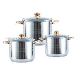 鍋のステンレス鋼の調理器具の鍋を調理する6PCSステンレス鋼のStockpotの誘導の台所