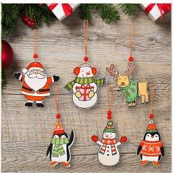 تصميم جديد 2021 6 pcs مجموعة خشبية سانتا كلوز معلقة عيد الميلاد زينة شجرة كديكور هدية