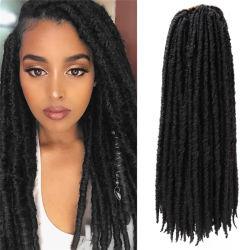 "Preto natural desde 18"" Deusa Faux Locs Pré Ciclagem Synthetic entrelaçando as extensões de cabelo"