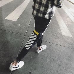 Fabricante directo Street Style Slim Fit String Padrão Especial homens calça jeans