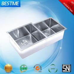 Square fregadero doble diferentes cuencos hechos a mano utensilios de cocina BS-355-201L