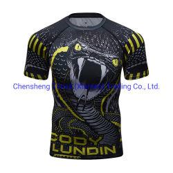 Kundenspezifischer voller Sublimation-Druck-Polyester-Felsen-überstürzte Schutz-Lieferanten-Sublimation-3D gedruckte Shirt-Franc-Männer 100%