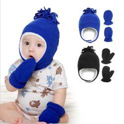Bebé Velo Chapéus de Inverno luvas de cor sólida e chapéus define as crianças com chapéus de Keep Warm define