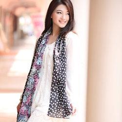 Impresos digitales personalizados Mantón de seda 100% puro de la moda de la mujer (12-BR110303-29)