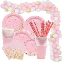 Rosa de oro de vajilla desechable papel servilleta de la Copa de las placas de 1ª Fiesta de cumpleaños decoración bebé Baby Shower niña Globo suministros parte