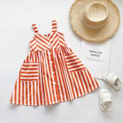 赤ん坊の夏の衣服の女の子の吊り鎖の服の偶然のしまのある服の服装の在庫