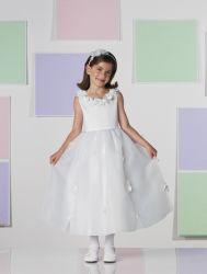 Милая девочка цветов платье для свадьбы Organza слоновой костью Kid формальной стороной платье