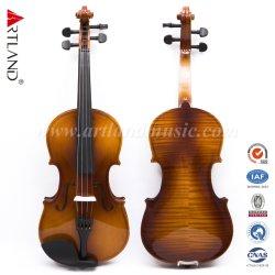 Madeira contraplacada Flamed Violino Outfit Castanho brilhante aluno violino (GV101F) com caixa e tampa de violino Bow Rosin