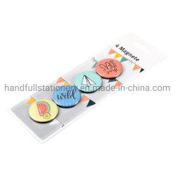 多彩な幾何学的設計のガラス磁石の一定の丸型装飾的な冷却装置磁石