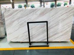 内壁および床のための薄い灰色かベージュまたはクリーム色の静脈が付いているギリシャVolakasの白い大理石の磨かれた平板