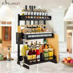 Acero inoxidable de 3 niveles del organizador de la tabla de almacenamiento para servicio pesado de la cocina Especiero