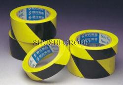 危険の警告のための付着力の黄色い黒PVC注意テープ
