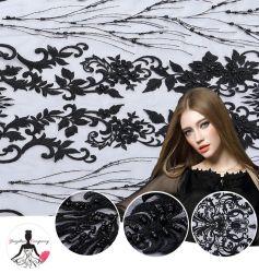 Tissu 100 % polyester Tissu artisanal de la broderie perlée pour robe dentelle