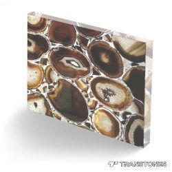 Venta caliente pulidas losas de piedra de Ágata marrón natural el panel de pared